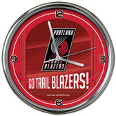 Portland Trail Blazers Go Team! Chrome Clock