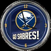 Buffalo Sabres Go Team! Chrome Clock