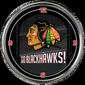 Chicago Blackhawks Go Team! Chrome Clock