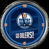 Edmonton Oilers Go Team! Chrome Clock