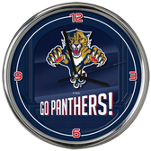 Florida Panthers Go Team! Chrome Clock