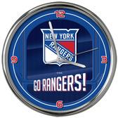 New York Rangers Go Team! Chrome Clock