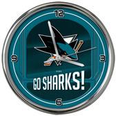 San Jose Sharks Go Team! Chrome Clock