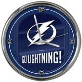 Tampa Bay Lightning Go Team! Chrome Clock