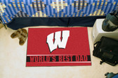 "Wisconsin Badgers Worlds Best Dad Starter Rug 19""x30"""
