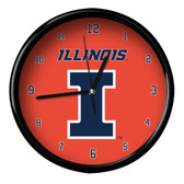 Illinois Fighting Illini Black Rim Clock - Basic