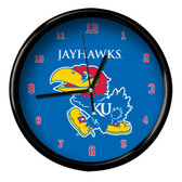 Kansas Jayhawks Black Rim Clock - Basic
