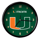 Miami Hurricanes Black Rim Clock - Basic