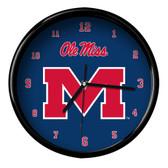 Ole Miss Rebels Black Rim Clock - Basic