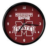 Mississippi State Bulldogs Black Rim Clock - Basic