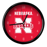 Nebraska Cornhuskers Black Rim Clock - Basic