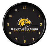 Southern Miss Golden Eagles Black Rim Clock - Basic