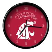 Washington State Cougars Black Rim Clock