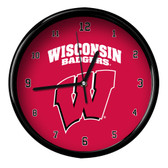 Wisconsin Badgers Black Rim Clock