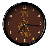 Wyoming Cowboys Black Rim Clock