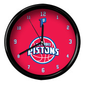 Detroit Pistons Logo Black Rim Clock