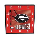 Georgia Bulldogs Go Team! 12in Square Clock