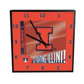 Illinois Fighting Illini Go Team! 12in Square Clock