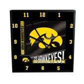 Iowa Hawkeyes Go Team! 12in Square Clock