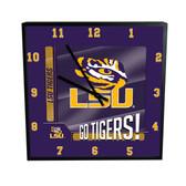 LSU Tigers Go Team! 12in Square Clock