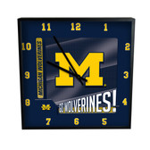Michigan Wolverines Go Team! 12in Square Clock