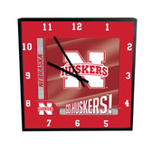 Nebraska Cornhuskers Go Team! 12in Square Clock