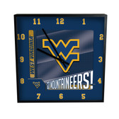 West Virginia Mountaineers Go Team! 12in Square Clock