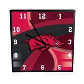 Arkansas Razorbacks Carbon Fiber 12in Square Clock
