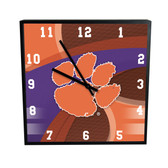 Clemson Tigers Carbon Fiber 12in Square Clock