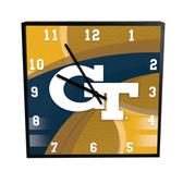"Georgia Tech Yellow Jackets Carbon Fiber 12"" SQ Clock"