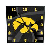 Iowa Hawkeyes Carbon Fiber 12in Square Clock