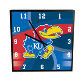 Kansas Jayhawks Carbon Fiber 12in Square Clock
