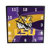 LSU Tigers Carbon Fiber 12in Square Clock