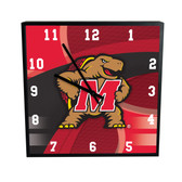 Maryland Terrapins Carbon Fiber 12in Square Clock