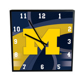 Michigan Wolverines Carbon Fiber 12in Square Clock