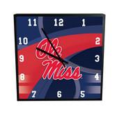 Ole Miss Rebels Carbon Fiber 12in Square Clock