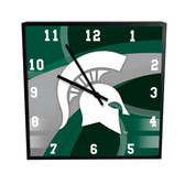 Michigan State Spartans Carbon Fiber 12in Square Clock