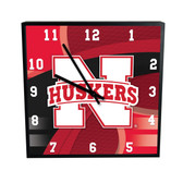 Nebraska Cornhuskers Carbon Fiber 12in Square Clock