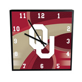 Oklahoma Sooners Carbon Fiber 12in Square Clock