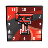 Texas Tech Red Raiders Carbon Fiber 12in Square Clock