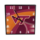 Virginia Tech Hokies Carbon Fiber 12in Square Clock