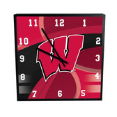 Wisconsin Badgers Carbon Fiber 12in Square Clock