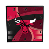 Chicago Bulls Carbon Fiber 12in Square Clock