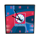 Philadelphia 76ers Carbon Fiber 12in Square Clock