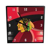 Chicago Blackhawks Carbon Fiber 12in Square Clock