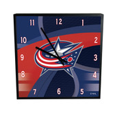 Columbus Blue Jackets Carbon Fiber 12in Square Clock