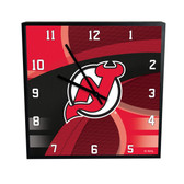 New Jersey Devils Carbon Fiber 12in Square Clock