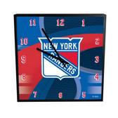 New York Rangers Carbon Fiber 12in Square Clock