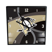 Pittsburgh Penguins Carbon Fiber 12in Square Clock