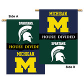 "Michigan - Michigan State 2-Sided 28"" X 40"" Banner W/ Pole Sleeve House Divided"